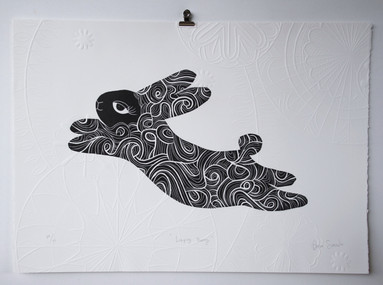 Leaping Bunny, wood cut print with embossing, 50 x 70cm