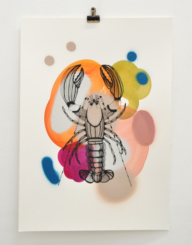 Cray edition no. 3 of 30, silk screen print on hand painted background, 50 x 35cm