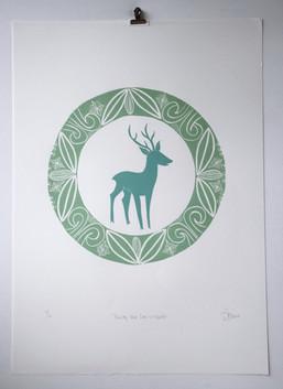 Dusky Blue Deer in Wreath, wood cut print with silver leaf, 50 x 70cm