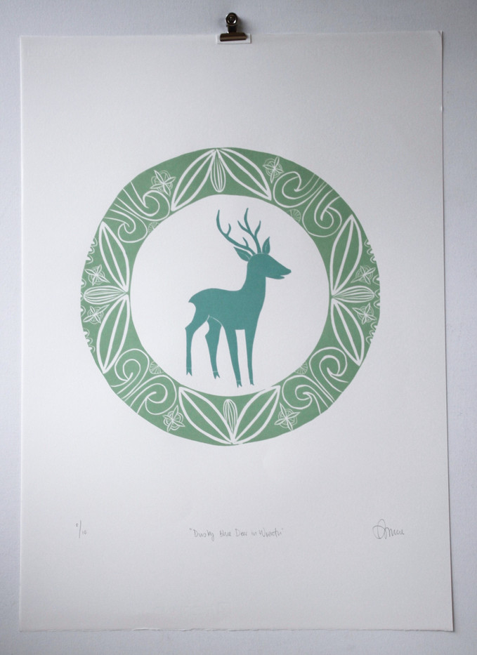 Dusky Blue Deer in Wreath, wood cut print with silver leaf, 50 x 70cm