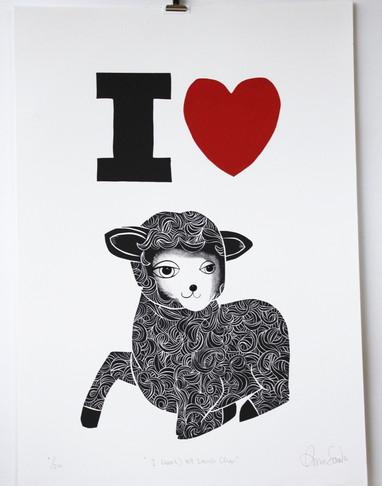 I (Heart) NZ Lamb Chops, wood cut print, 50 x 70cm