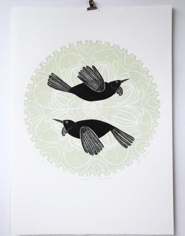 Green Tui Porohita, wood cut print, 50 x 70cm