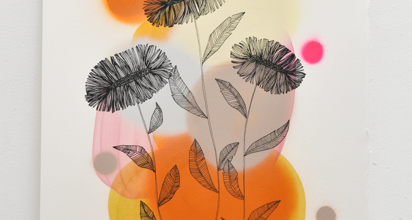 Daisies edition no. 4 of 30, silk screen print on hand painted background, 50 x 35cm