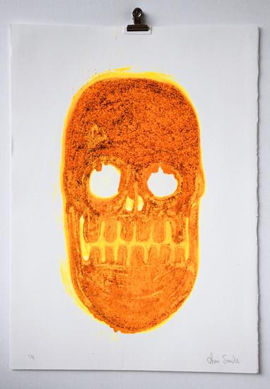 Fluorescent Skull 4, carborundum monoprint, made in Barcelona, 35 x 50cm
