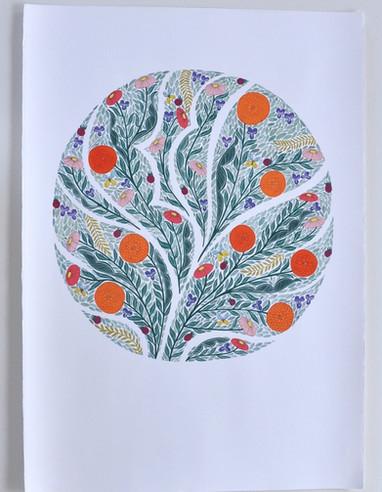 Spring Blooms, original gouache on paper, 100 x 80cm