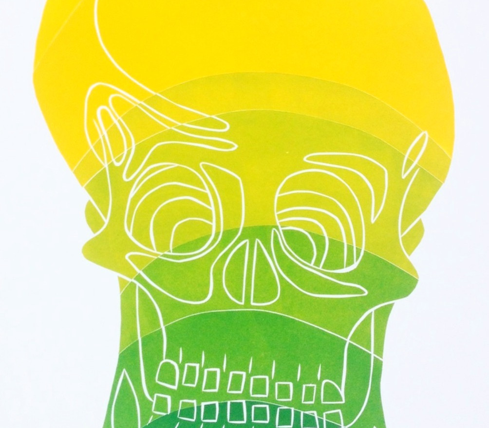 Citrus Skull, rainbow roll up wood cut print, 100 x 80cm