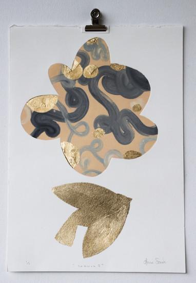 Sakura I, monoprint with gold leaf made in Melbourne, 25 x 17.5cm