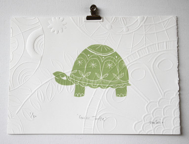 Green Turtle, wood cut print with embossing, 25 x 17.5cm