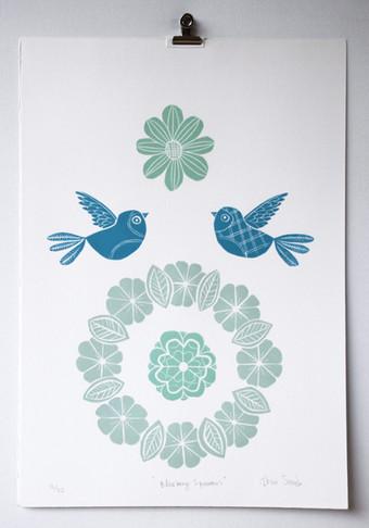 Blueberry Sparrows, wood cut print, 50 x 35cm