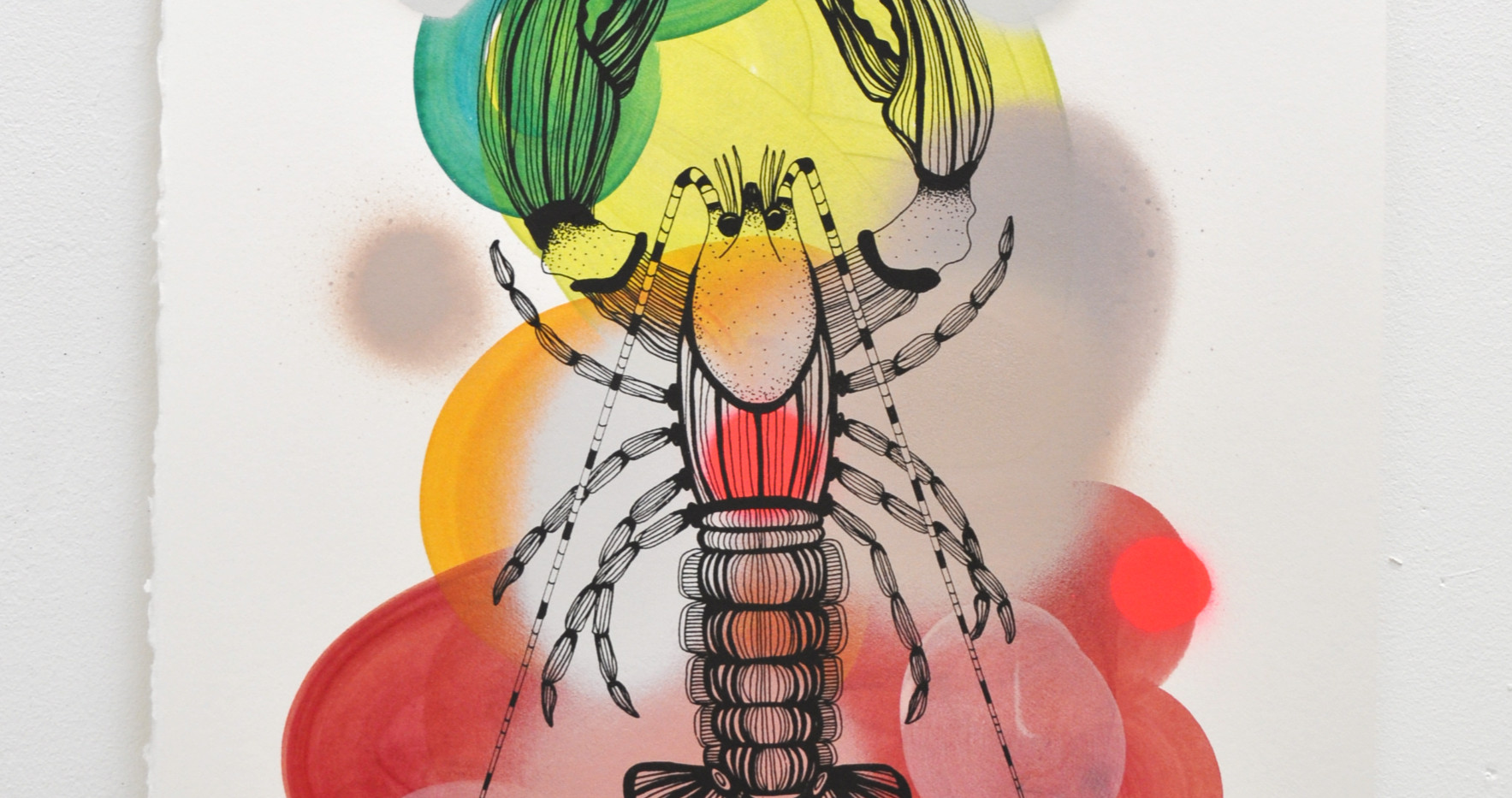 Cray edition no. 4 of 30, silk screen print on hand painted background, 50 x 35cm