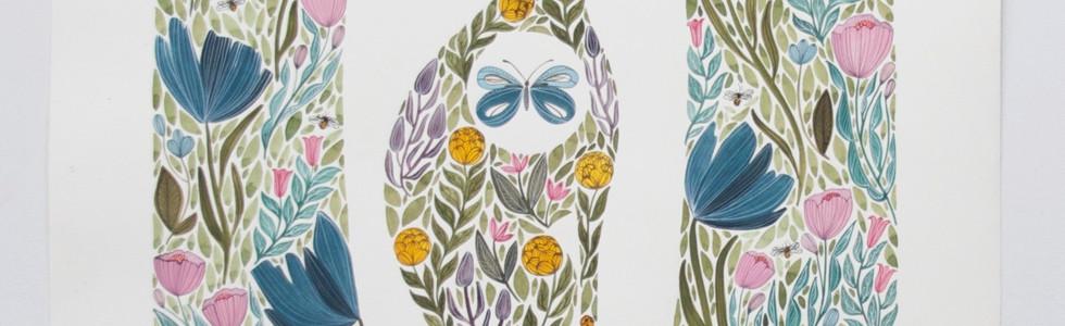Follow Your Soul, original gouache on paper, 80 x 65cm