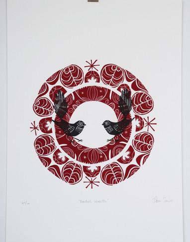 Fantail Wreath, wood cut print, 70 x 50cm