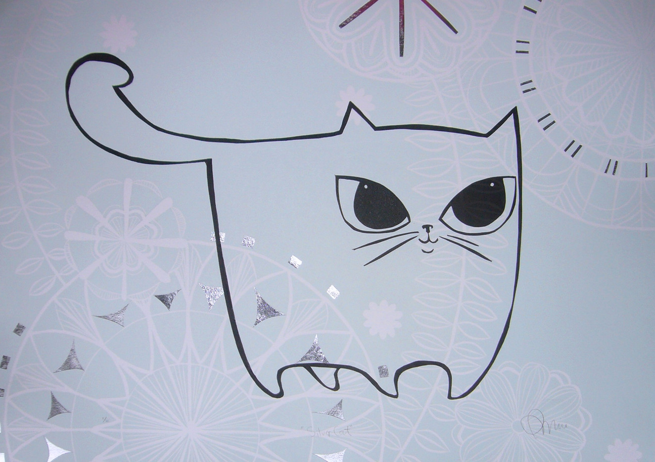 Silver Cat, wood cut print with silver leaf detail, 50 x 70cm