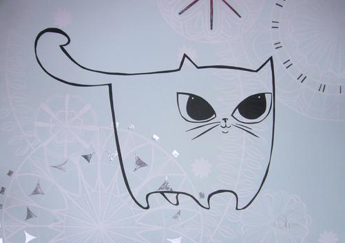 Silver Cat, wood cut print with silver leaf detail, 50 x 70cm