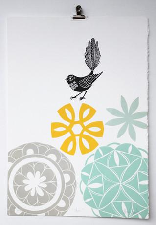 Star, wood cut print, 50 x 35cm