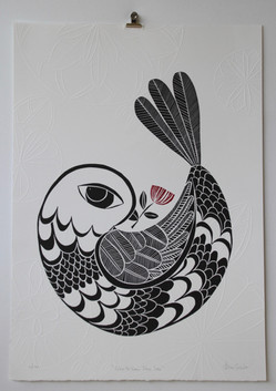 Pohutukawa Peace Dove, wood cut print with embossing, 50 x 70cm
