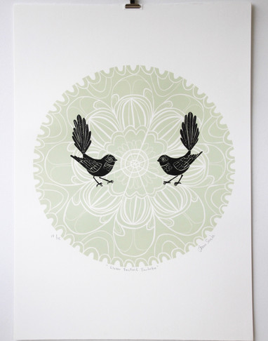 Green Fantail Porohita, wood cut print, 70 x 50cm