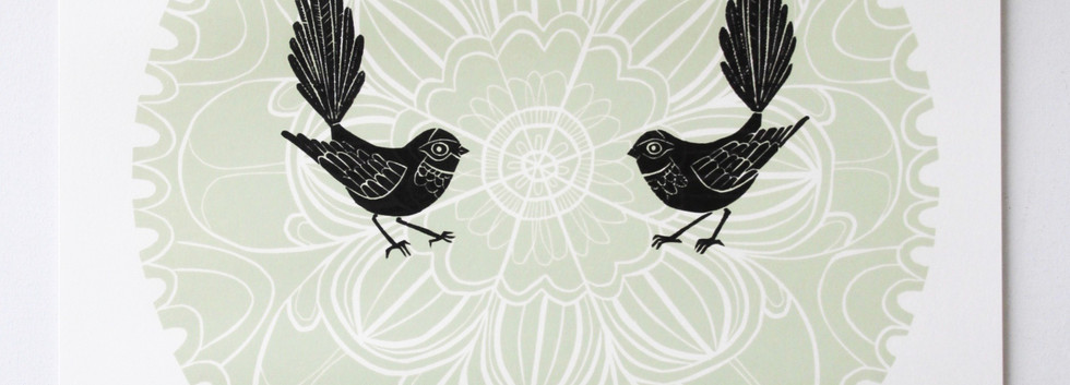 Green Fantail Porohita, wood cut print, 70 x 50cm