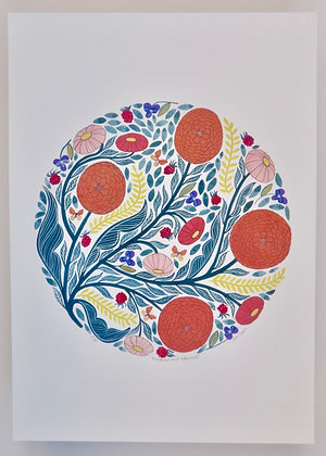 Raspberries and Daisies - Print