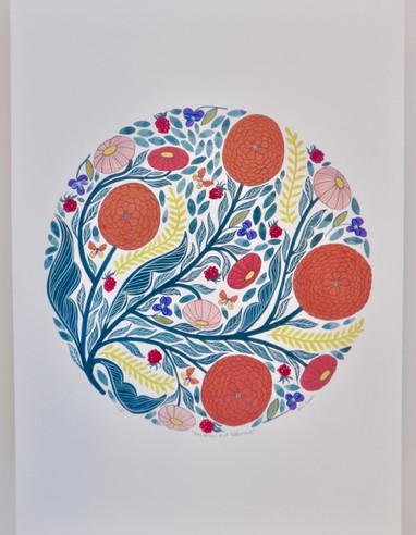 Raspberries and Butterflies, giclée print, 29.5 x 41cm