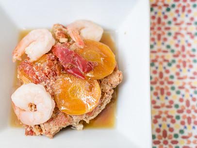 Cocido de pollo y camarones