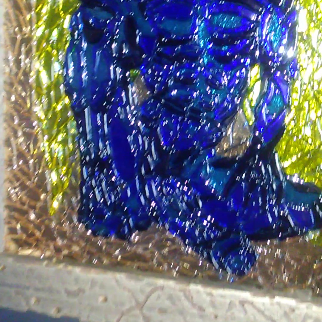 Blue Angel fused art glass panels - ligh