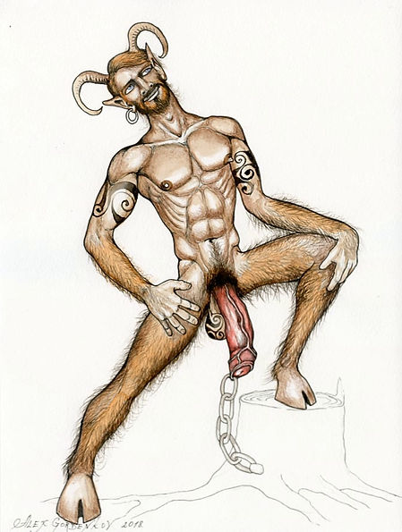 satyr with chain pencil,watercolours on