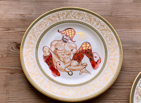 """Buffoons"" set of the porcelain plates... commissioned artwork"