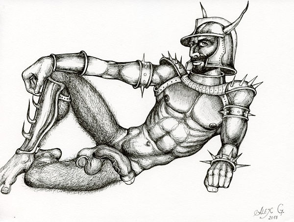 laid-back knight drawing on paper 72 dpi