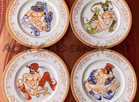 """Buffoons"" set of the plates that I made couple weeks ago...I am so happy the guys arrived unbroken"