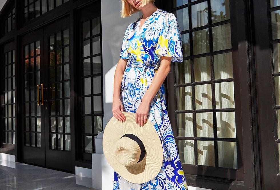 Greta Silk Wrap dress - Blue Scorpio
