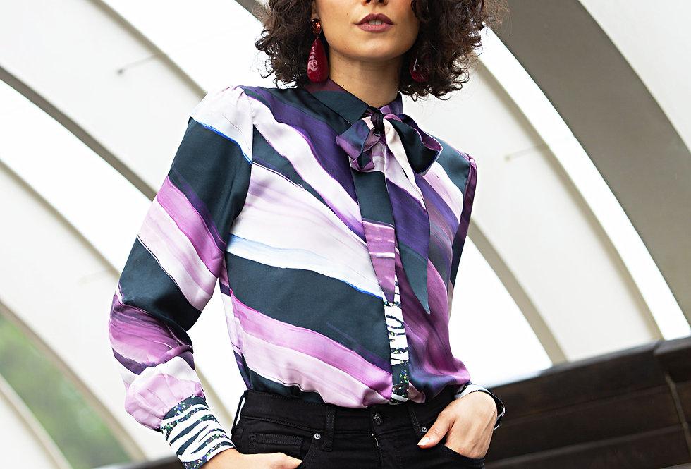 Saskia Shirt - Purple Waves