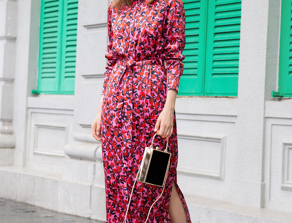 Laura Dress - Red leopard