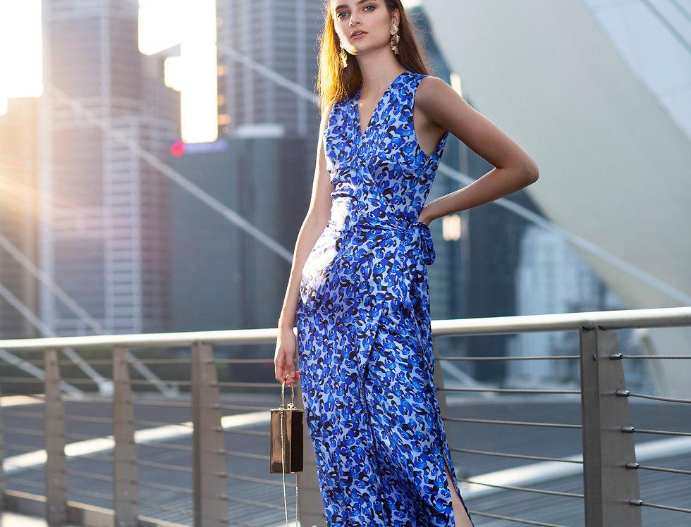 Irene Dress - Blue leopard