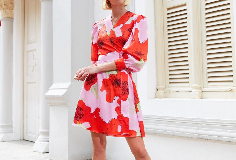 Marina Cotton Wrap Dress - Pink Flower