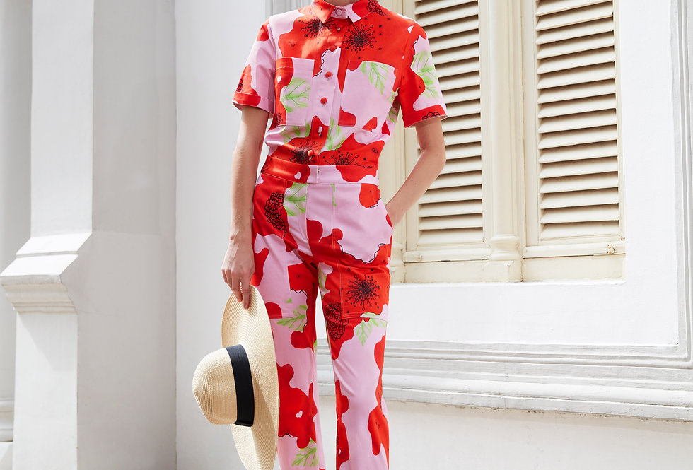 Lowa Denim Jumpsuit - Pink Flower