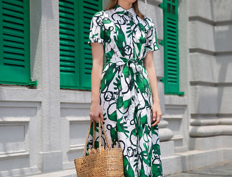 Fanny Dress - Green hands