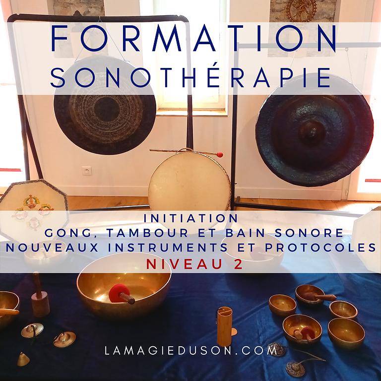 """Formation sonothérapie niveau 2 """"Initiation  Gong, Tambour et Bain Sonore Nouveaux Instruments et Protocoles"""""""