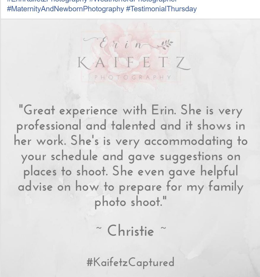 Erin Kaifetz Photography Client Testimonials