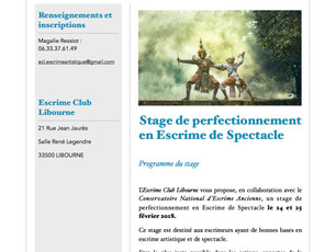 Stage de perfectionnement Escrime de Spectacle
