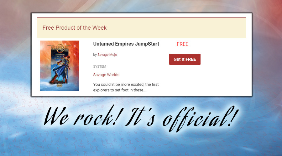 Free Product of the Week. Yeah baby!