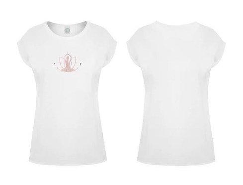 Damen Yoga Oversize T-Shirt Lotusblüte Roséfarben