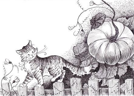 тушь и перо, котенок и тыква