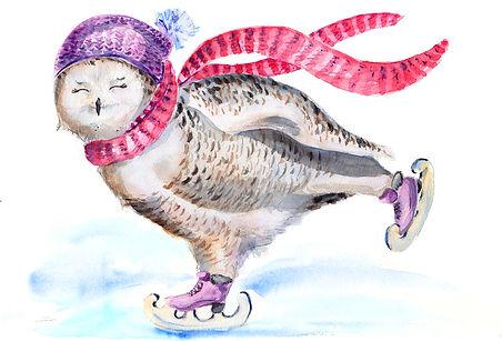 акварель, совы, watercolor