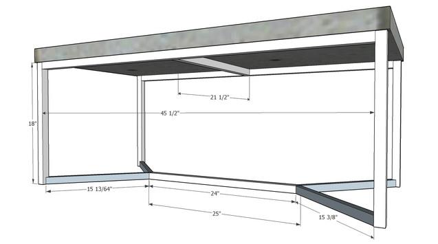 Concrete Table Base 1inch sq tube 45 deg