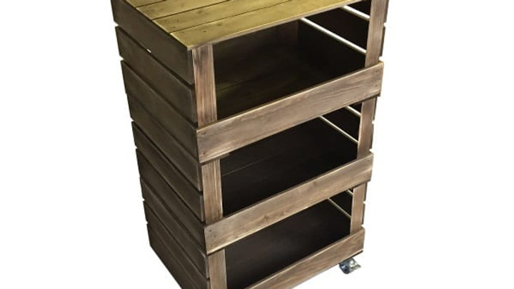 3 Crate Rustic Mobile Tower Storage Unit
