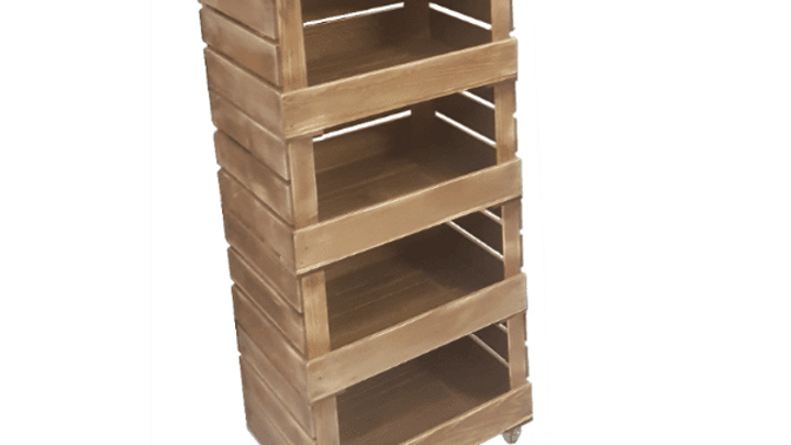4 Crate Rustic Mobile Tower Storage Unit