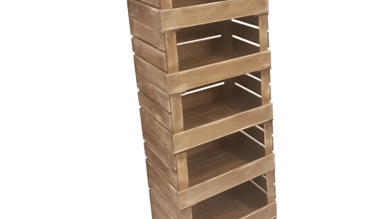 5 Crate Rustic Mobile Tower Storage