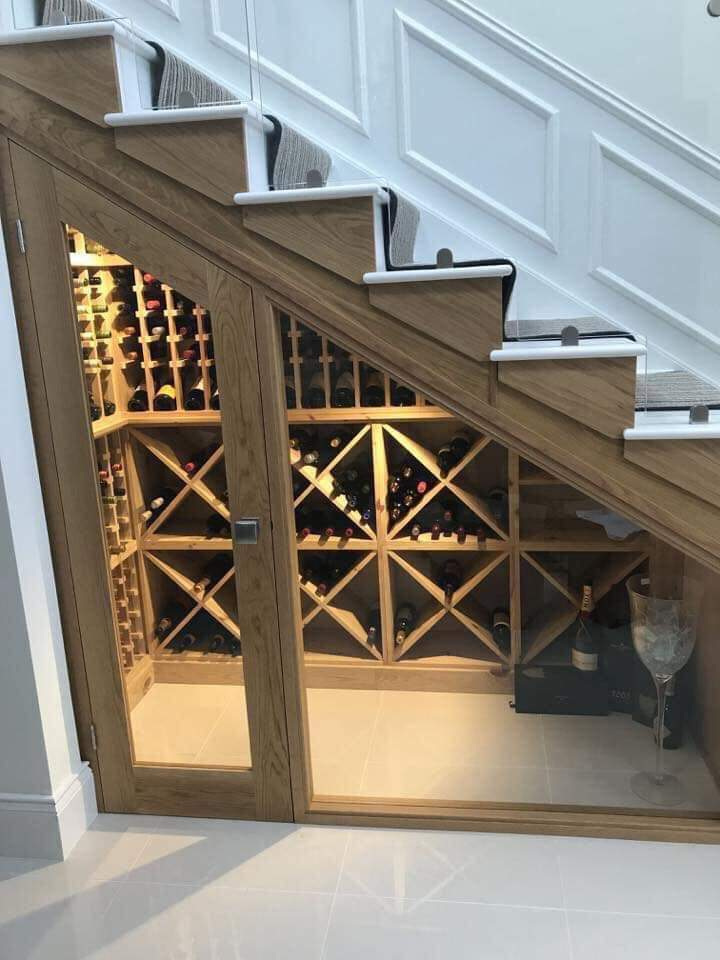 Under the stairs wine room