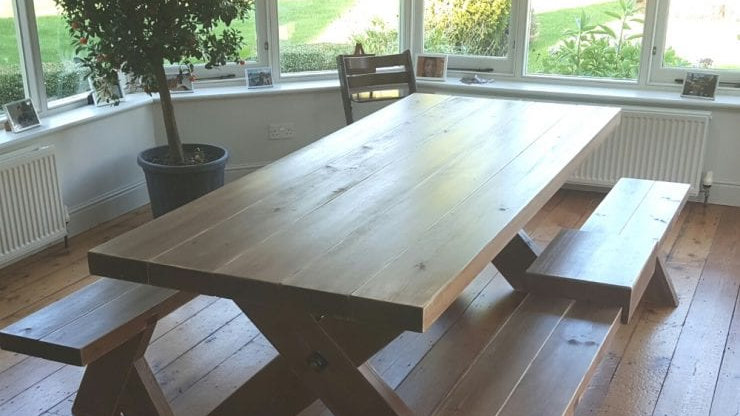 7ft Rustic Farmhouse Table and Bench Set